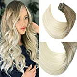 HUAYI Ash Ombre Platinum Blonde 50g 20Pcs 20inch Tape In Hair Extensions Human Hair Soft Thick End Tangle Free Tape Durable Silky Straight Balayage Hair Extensions (8T60#20'')