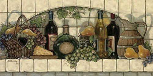 Feeling at home ESTRILLADO-LIENZO-Vino,-N-Cheese-Pantry-Kruskamp-Janet-Food-Fine-Art-impresión-enmarcado-en-madera-bars-cm_18x37_in