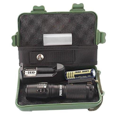 LED Taktische Taschenlampe, Ulanda-EU 3000 Lumen XML T6 Portable Outdoor wasserdichte Fackel mit einstellbarem Fokus und 5 Lichtmodi, wiederaufladbare 18650...