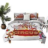 Dragon Vines Parure de lit 4 pièces pour lit double Motif animaux du cirque avec tente nostalgique Rouge/blanc 68 x 90 cm