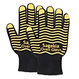 Sagekia Cooking Gloves, Grill Gloves, Flexible Grilling Gloves with Silicone Strips, Heat Resistant