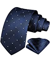 HISDERN Plaid Polka Dots Tie Handkerchief Woven Classic Check Men's Necktie & Pocket Square Set Navy Blue
