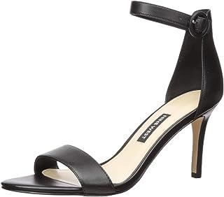 NINE WEST Women's Fashion Sandal Heeled, Black, 6.5 M US