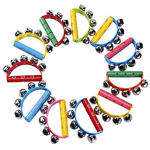 Haudang 10 campanelle colorate per climatizzare, slittino, strumento su manico in legno, per bambini e bambini