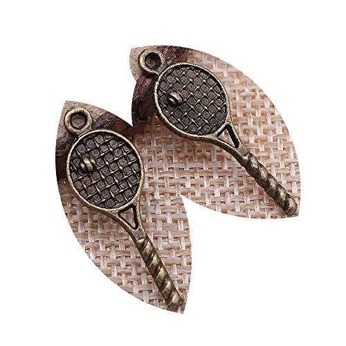 honggui1111-50 colgantes de raqueta de tenis de 30 x 10 mm, para hacer joyas, colgantes de raqueta de tenis (bronce antiguo)