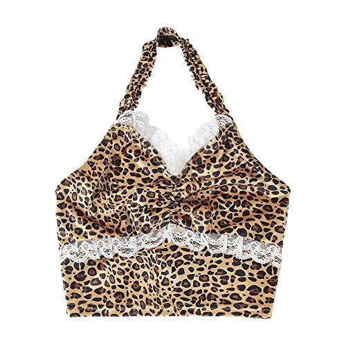 Blusas Halter Top para las mujeres Leopard Print Lace Y2K Cami sin mangas Backless Vintage recortado Ruched Clubwear Streetwear