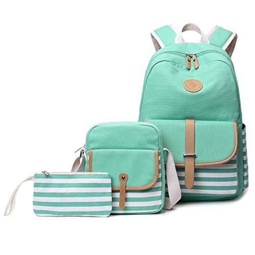 Abshoo Causal Travel Canvas Rucksack Backpacks for Girls School Bookbags (Green Set)