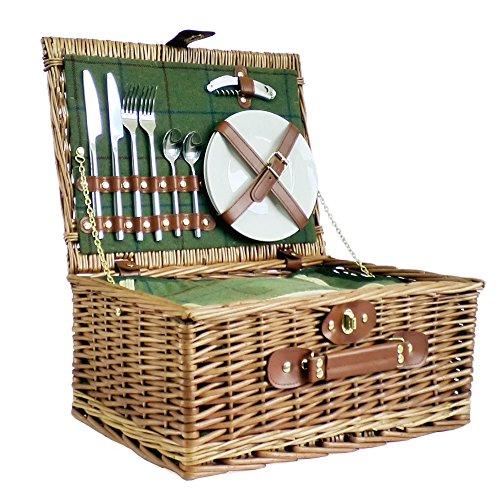 Luxus Picknickkorb für 2Personen grün tweed-style–Geschenk Ideen für Weihnachten Geschenke, Geburtstage, Jahrestage & Congratulations Presents