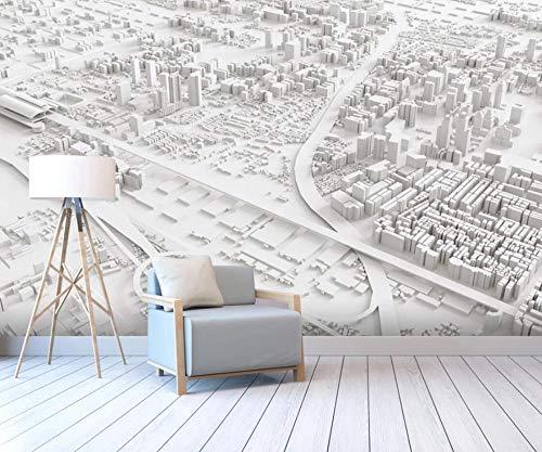 3D Fototapete 3D Effekt Abstrakter Weißer Stadtplan Tapete 3D Wandbild Bild Tapeten Wandtapete Dekoration Wandbelag Wanddeko
