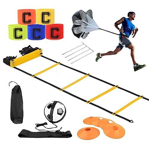 airtrack matte Set Allenamento velocità Calcio, Set di Allenamento Agile,Premium Agility Ladder e Coni,Paracadute da Corsa di Resistenza, Coni di Sport,Cintura di Allenamento, Bracciale Sportivo