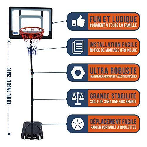 BUMBER Panier de Basket sur Pied Orlando Réglable en Hauteur de 1m60 à 2m10, Portable et déplacable