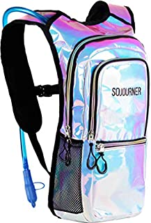 Sojourner Rave Hydration Pack Backpack - 2L Water Bladder Included for Festivals, Raves, Hiking, Biking, Climbing, Running and More (Holographic - Blue)