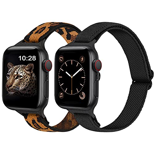 AFERIY Slim Stretchy Nylon Solo Loop Bands Compatible with Apple Watch Band 42mm 44mm, Thin Breathable Adjustable Braided Sport Elastics Strap Women Men for iWatch Series 6/5/4/3/2/1 SE