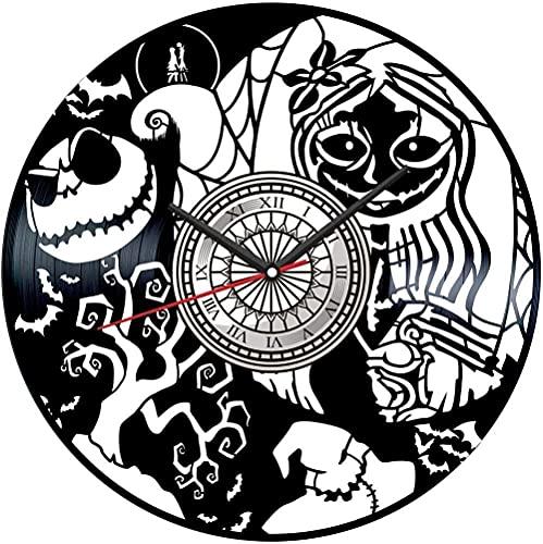 ZZLLL Pesadilla Antes de Navidad Disco de Vinilo Reloj de Pared Estilo Retro Reloj de Pared silencioso Decoración del hogar Arte único Decoración Especial del hogar Regalo Personalizado Creativo