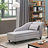 Modern Chaise Lounge Indoor with Storage,Velvet Fabric Chaise Lounge Couch, Sleeper Lounge Sofa for Bedroom,Office,Small Living Room & Apartment (Seat Size 48L x 24W x 17 H inch Right ARM}