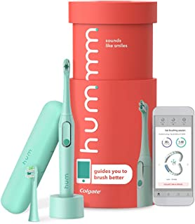 Colgate hum Smart Electric Rechargeable Sonic Toothbrush with Travel Case and Replacement Head, Teal