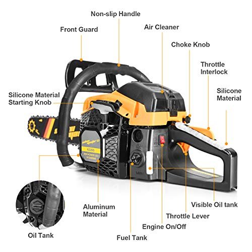 SALEM MASTER 6220G 62CC 2-Cycle Gas Powered Chainsaw, 20-Inch Chainsaw, Handheld Cordless Petrol Gasoline Chain Saw for Farm, Garden and Ranch