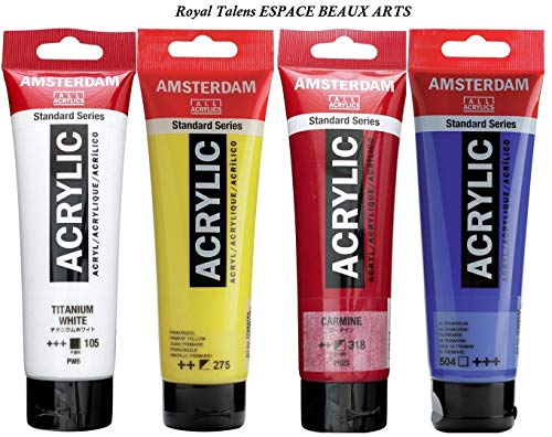 Royal Talens Amsterdam Standard Acrylic Paint 120 ml set de 4 unidades blanco de titanio, amarillo primario, carmin, ultramar
