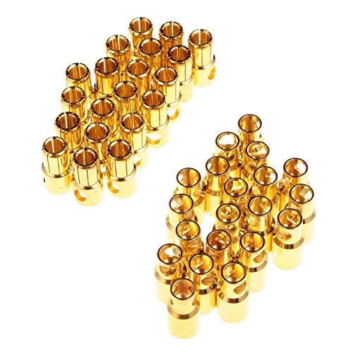 Well-Goal 20pairs 6 mm, 6 mm, colore oro, a forma di proiettile, con spina Banana connettori per batterie RC
