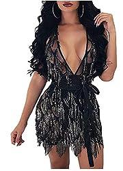 Black Deep V Neck Sequin Beaded Halter Bodycon Dress