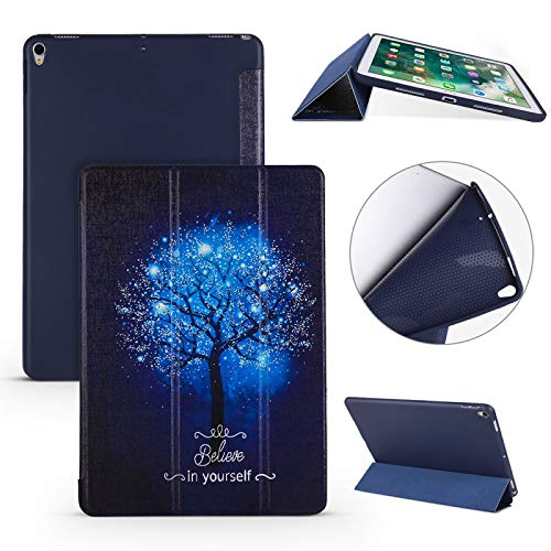 Banaz Leather Case Blue Tree Pattern Horizontal Flip PU Leather Case For IPad Air 2019 / Pro 10.5 Inch, With Three-folding Holder & Honeycomb TPU Cover