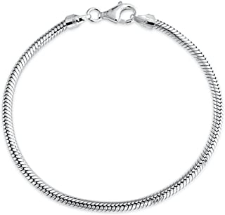 Snake Chain Starter Charm Fits European Beads Bracelet For Women Teen Strong 925 Sterling Silver Lobster Claw Clasp