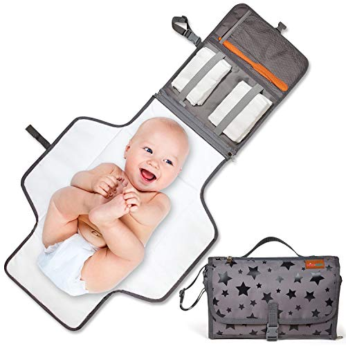 Baby Portable Changing Pad - Easy-to-Use Waterproof Changing Mat Portable for Diaper Duty When Out and About - Thick Cushion Changing Pad for Comfort