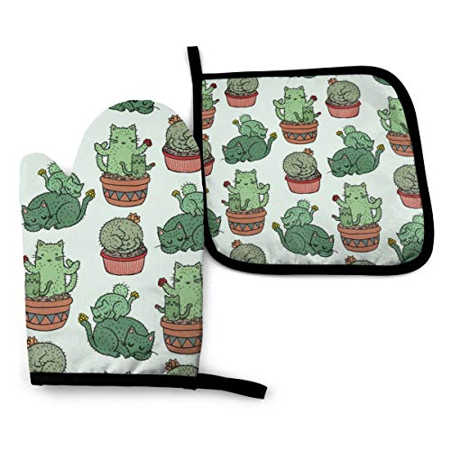 Ameiu-Design Oven Mitts and Pot Holders,Cacti Cat Pattern Advanced Heat Resistant Oven Mitts,Non-Slip Textured Grip Potholders for Cooking Grilling Baking