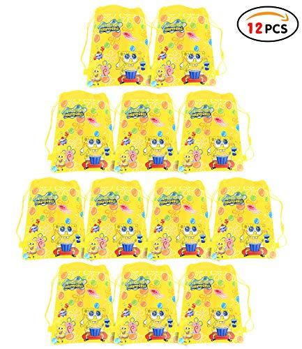 Qemsele Partyt¨¹Ten Mitgebsel Kindergeburtstag Gastgeschenke T¨¹Ten Tasche 12 St¨¹ck, Kordelzug Rucksack Bag Turnbeutel f¨¹r Kinder M?dchen Frauen Kindergeburtstag, Geburtstagsfeier(Spongebob)
