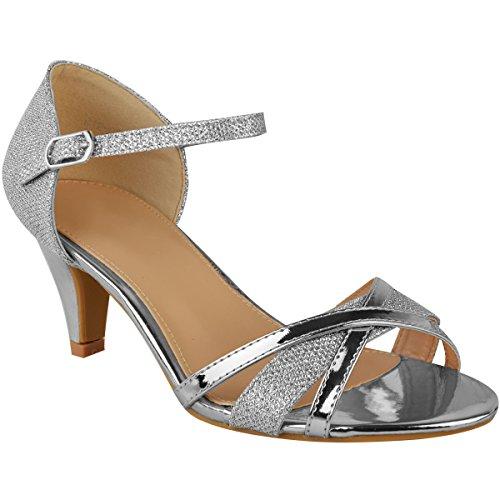 Fashion Thirsty Damen Sandaletten mit Mittelhohem Absatz - Offener Zehenbereich - Silberfarben Metallic - EUR 39
