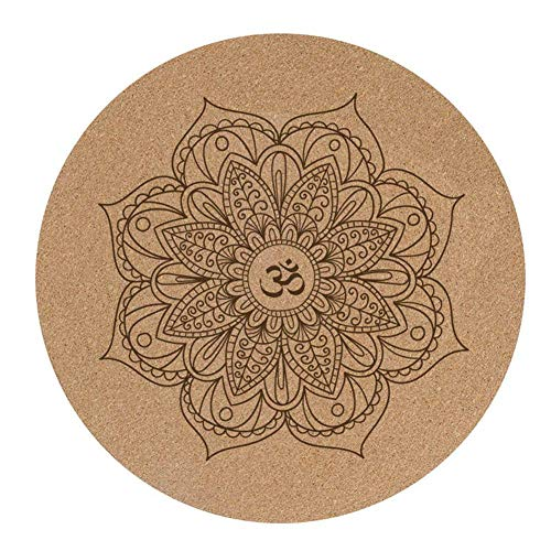 Cutito Yogamatte, Kleine Runde Kork Gummi, Rutschfest Yoga Kissen, Meditation Pad Pilates Pad für Heim Außen, 60x60cmx3mm
