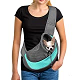 YUDODO Pet Dog Sling Carrier Breathable Mesh Travel Safe Sling Bag Carrier for Dogs Cats (S(up to 5 lbs), Cyan)