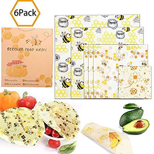 Alytimes Bienenwachs-Wraps Beeswax Warps 6er-Set Bienenwachstücher Wachspapier für Lebensmittel Wax Paper Aus natürlichem Bienenwachs