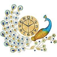 XYCSM 3 Dの高級壁時計孔雀の時計ぶら下がって時計ヨーロッパの芸術の静かなミュートクォーツ時計ホーム、キッチン、リビングルーム カンチレバーヌル/Lucky Peacock