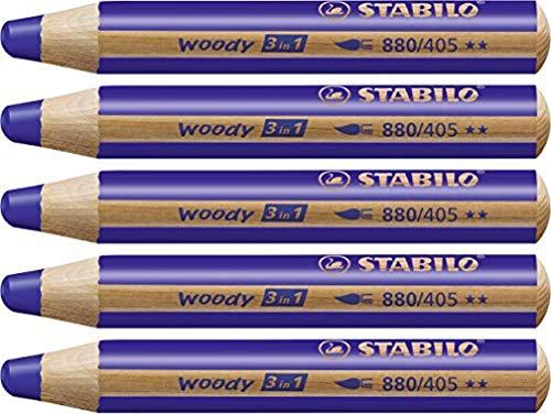 Crayon de coloriage - STABILO woody 3in1 - Lot de 5 crayons de couleur - Outremer