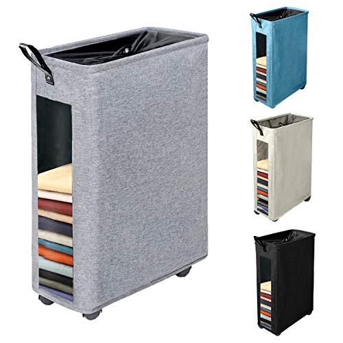 Henkelion Rolling Laundry Hamper, Collapsible Laundry Basket with Wheels and Handles, Tall Large Slim Narrow Foldable Storage Corner Bin with Visible Clear Window for Dirty Clothes - 27 Inches - Grey