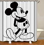BARTORI Duschvorhang mit Cartoon-Motiv, ohne pinke Punkte, Schwarz Micky Maus auf weißem Hintergr&, klassischer wasserdichter Polyesterstoff, mit Haken & Größe 180 x 180 cm