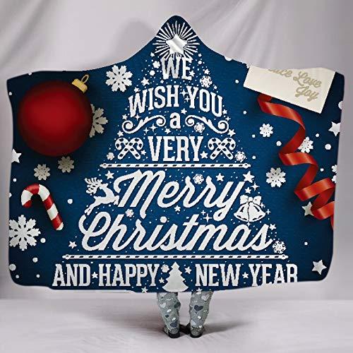 ACC Kerstboom-winter-met capuchon deken pluche deken, gepersonaliseerde print met capuchon, mantel-sjaal deken met cap warm fluffy voor volwassenen en kinderen