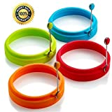 Silicone Egg Rings Non Stick egg frying rings, Fried and Poached Egg and Pancake Cooking Rings...