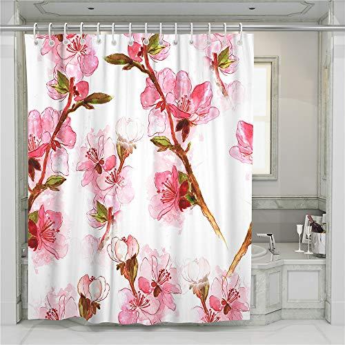 Enhome Anti-Schimmel und Wasserdicht Duschvorhang Für Badezimmer, Mädchen Damenart Wasserdichten Polyestergewebe Badezimmer Vorhang Gewebe Mit 12 Duschvorhangringe (Tinte rosa Pfirsichblüte,150x180cm)