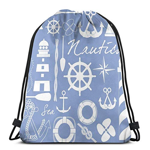 XCNGG Maritime Related Eps Format Adventure Vintage Drawstring Backpack Sport Bags Cinch Tote Bags For Traveling And Storage For Men And Women 17X14 Inch