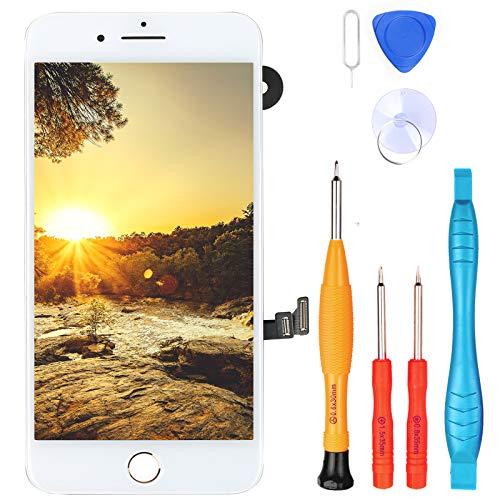 """LL TRADER Pantalla para iPhone 7 Plus Blanco 5.5"""", Repuesto de Táctil Retina LCD Digitalizador con Botón de Inicio de Oro, Sensor de Proximidad, Cámara Frontal, Altavoz de Auricular y Herramientas"""
