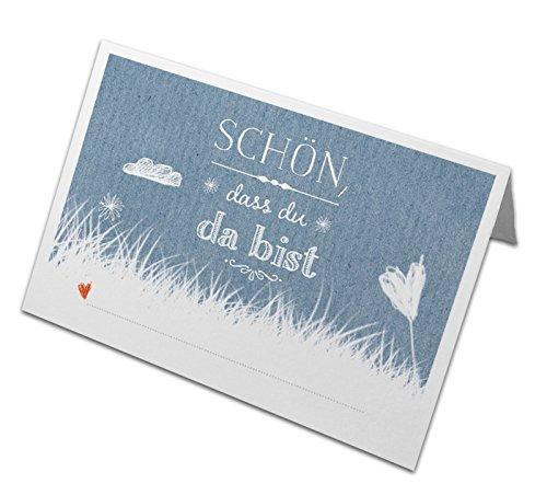 50 Tischkarten aus Recyclingpapier BLAU, klimaneutrale Namenskarten, edle Platzkarten zum...