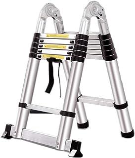Escalera telescópica aluminio escalera escamoteable Escalera plegable multifuncional para el hogar con rodamiento 150 kg-1.6+1.6M