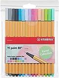 Stabilo Point 88–Terciopelo de bolígrafos Punta Fina–Colores Neon, color Coloris pastel