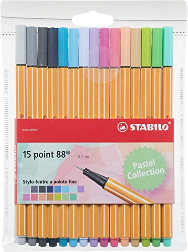 Fineliner -Stabilo point 88 Pastel - Astuccio da 15 - Colori pastello assortiti