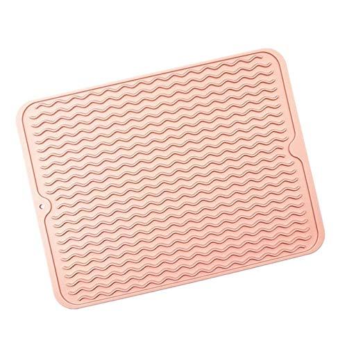 LANGU TECHNOLOGY De Silicona Placa de Secado Mat Espesor Resistente al Calor Trivet Bandeja de Goteo Copa Posavasos Antideslizante sostenedor de pote Tabla Mats Cocina (Color : Apricot Pink)