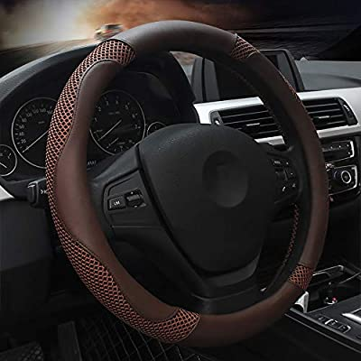 Microfiber Leather Steering Wheel Cover, Universal 14.5~15inch Luxury Car Steering Wheel Cover for Women and Men,Breathable, Anti-Slip,Warm in Winter and Cool in Summer,Pure Coffee
