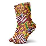 yting Calcetines casuales de la bandera de Sri Lanka con la bandera de América Calcetines de tobillo Calcetines de compresión de vestido corto para mujeres Hombres