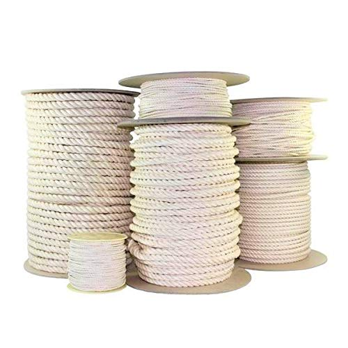 """SGT KNOTS Twisted 100% Cotton Rope for DIY Projects, Crafts, Commercial, Agricultural - High Strength, Low Stretch, Natural (5/16"""" x 100ft, Natural)"""